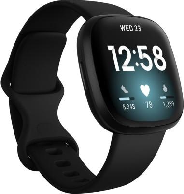 FITBIT Versa 3 Smartwatch(Black Strap, Regular)