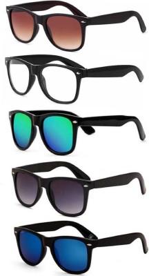 kingsunglasses Wayfarer Sunglasses(For Men & Women, Blue, Green, Brown, Black, Clear)