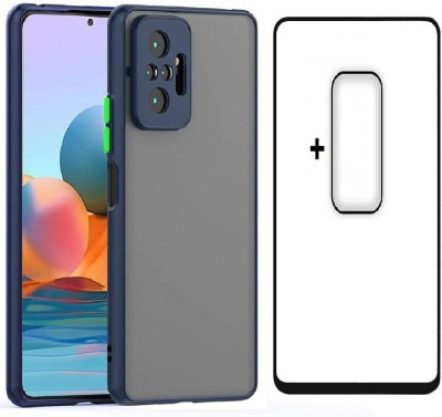 Msons Screen Guard for Redmi Note 10 Pro, Redmi Note 10 Pro Max | Triple Combo Pack Offer, 11D 9H Hardness Tempered Glass, Smoke Fashionable Colored Buttons Back Cover & Flexible Camera Lens(Pack of 3)