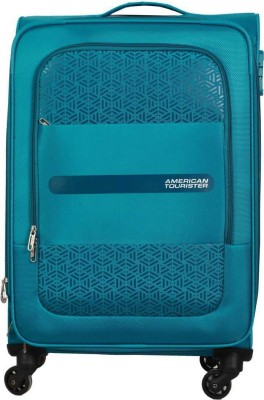 AMERICAN TOURISTER Medium Size Light Weight Luggage 24 inch   Monarch Tsa Lock Spinner Soft Trolley 68 cm   Sea Green Expandable Cabin   Check in Lugg