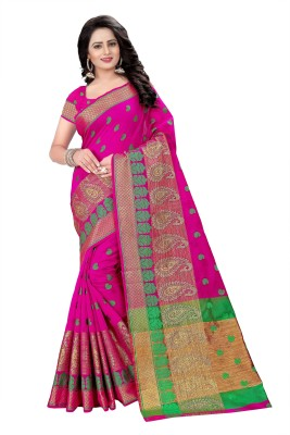 Cartyshop Woven Kanjivaram Cotton Blend, Art Silk Saree(Pink)