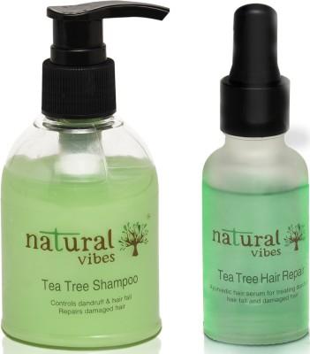 Natural Vibes ~ Ayurvedic Anti dandruff and Hair fall treatment ~ with 1 Tea Tree hair repair serum 30 ml and 1 Tea Tree shampoo 150 ml(2 Items in the set)