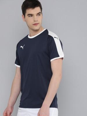 PUMA Color Block Men Round Neck Blue T-Shirt