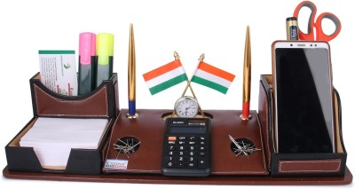 RASPER 5 Compartments Brown Genuine Leather Multipurpose Desk Organizer Pen Stand Holder With Calculator Watch Flag For Office Table Top...