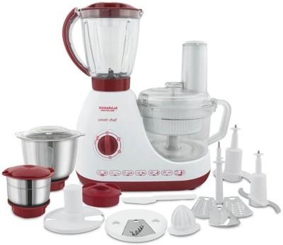 MAHARAJA WHITELINE SMART CHEF (FP-100) 600 Juicer Mixer Grinder (3 Jars, Red & White)