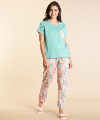 DreamBe Women Printed Green Top & Pyjama Set