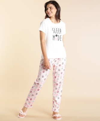 DreamBe Women Printed White Top & Pyjama Set