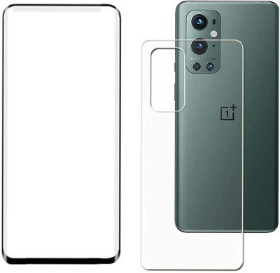 erika Front and Back Tempered Glass for Oneplus 9 pro curved full glue glass ( no uv glue , light needed) and back guard(Pack of 1)