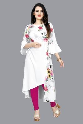 RITIKSHA Women Floral Print Asymmetric Kurta(White)