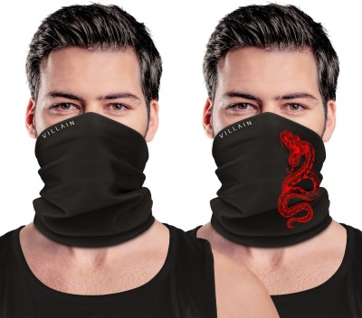 Villain Defender Multi-Purpose Face Mask For Men, Boys Printed, Solid Bandana(Pack of 2)