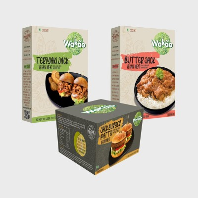 Wakao Combo Pack of 3 Teriaki, Buttter and Burger Patty Jack Vegan Meat (100 % Plant-Based Jack Fruit Meat)- Heat and Eat 1200 g(Pack of 3)