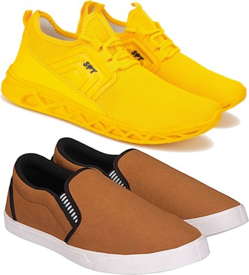 ORICUM Running Shoes For Men Yellow, Brown