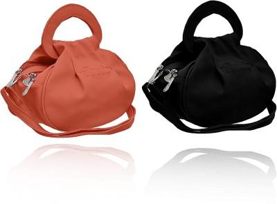SK NOOR Pink, Black Hand held Bag Pack of 2 SK NOOR Sling Bags