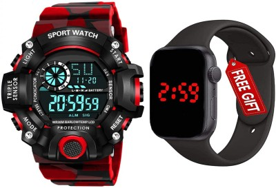 Acnos Brand - A Digital Watch With Square LED Shockproof Multi-Functional Automatic Red Color Army Strap Waterproof Digital Sports Watch for Men's Kids Watch for Boys Watch for Men PACK OF 2 Water Resistance Digital Watch - For Men