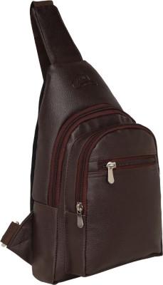 Leatherworld Men Cross body Travel Shoulder sling bag 14 L Backpack(Brown)