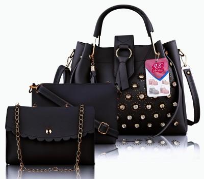 LIKE STYLE Women Black Messenger Bag(Pack of: 3)