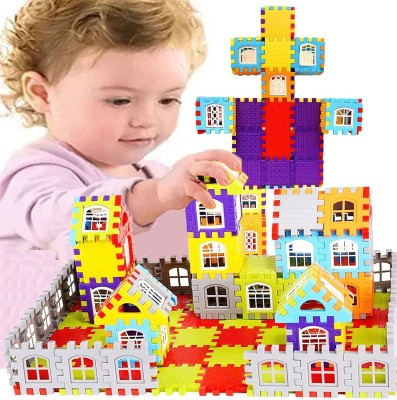 FRAONY BEST BABY GIFT Happy House building blocks 72pcs Le.go Blocks Multi Color Building Blocks with Smooth Rounded Edges  Non-Toxic   Brain Development  Educational  Creative  For Kids Puzzle Assembling Building Unbreakable Kids Toy Set(Multicolor)
