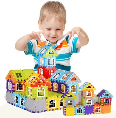 FRAONY My Happy House 72 Blocks + 30Windows Building Blocks for Kids House with Attractive Windows Plastic Building Blocks Bricks Toy For Baby Kids Funny Educational Creative /Learning Toy/For Kids Puzzle Toy NON TOXIC Assembling Building Unbreakable Kids Toy Set(Multicolor)