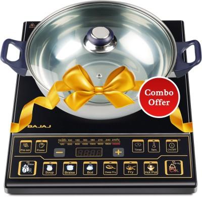 BAJAJ ICX 7 740000 Induction Cooktop with Kadhai(Black, Push Button)