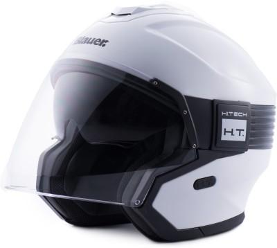 Steelbird Blauer Hacker ISI/ECE Certified Open Face Helmet Motorbike Helmet(Glossy White Black with Clear Visor)