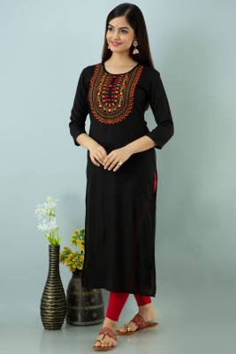 FASHION DEPTH Women Embroidered Straight Kurta(Black)