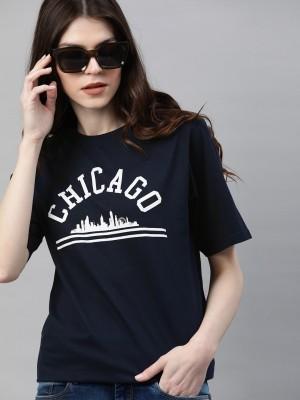 DILLINGER Typography Women Round Neck Dark Blue T-Shirt