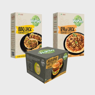Wakao Combo Pack of 3 BBQ Jack Vegan Meat, Raw Jack Vegan Meat & Jack Burger Patty Vegan Meat (100 % Plant-Based Jack Fruit Meat) Heat and Eat 1200 g(Pack of 3)