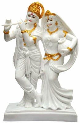 krishnagallery1 Radha Krishan Marble Finish Statue Matki Radha With Krishna ( For Home Temple,Office Temple, Gifted use item ) Washable statue Decorative Showpiece  -  42 cm(Polyresin, Multicolor)