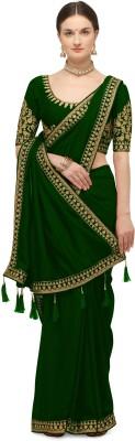 Nimidiya Embroidered Fashion Pure Silk Saree(Green)