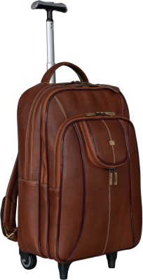 BRAND LEATHER 100% Genuine Leather Stylish Backpack Trolley 35 L Trolley Laptop Backpack(Tan)