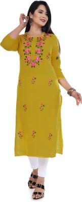 ELVISH JAIPUR Women Embroidered Straight Kurta(Yellow)