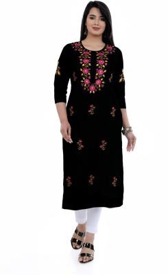 ELVISH JAIPUR Women Embroidered Straight Kurta(Black)