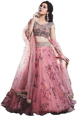 Pink She Embroidered Semi Stitched Lehenga Choli(Pink)