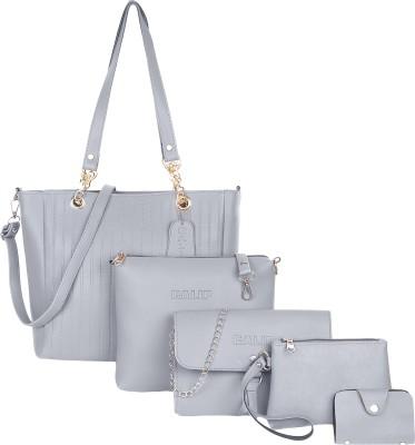 GALIP Women Grey Hand-held Bag(Pack of: 5)