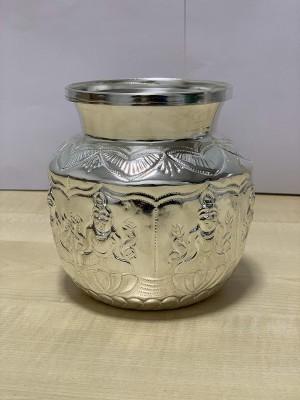 Dalvkot Ashta Lakshmi Design Pooja Chambu Kalash Lota of White Metal for Puja (Big, L x D x H : 12 x 12 x 12 cm) Brass Kalash(Silver)