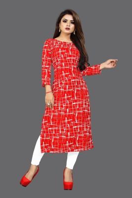 TASHVI CREATION Women Printed Straight Kurta(Red)