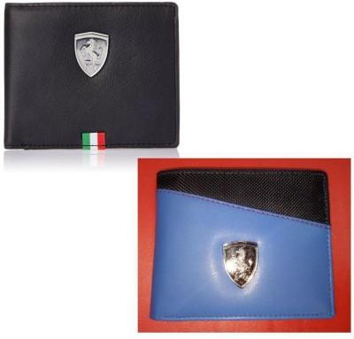 PUMA Men Multicolor Artificial Leather Wallet 4 Card Slots, Pack of 2 PUMA Wallets