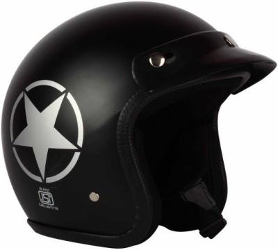 O2 Unisex Helmet with Adjustable Strap Motorbike Helmet(Black)