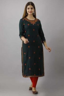 Rangshalaa Women Embroidered Straight Kurta(Dark Green)