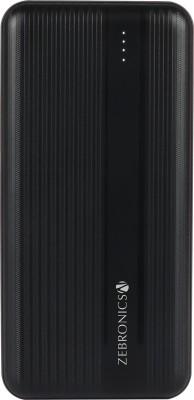 ZEBRONICS 10000 mAh Power Bank  20 W, Fast Charging  Black, Lithium Polymer ZEBRONICS Power Banks