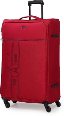 Verage Paris 79 Cms Red Large Check In Soft Suitcase Luggage Bag With 360 Spinner 4 Wheels Expandable Check-in Luggage...