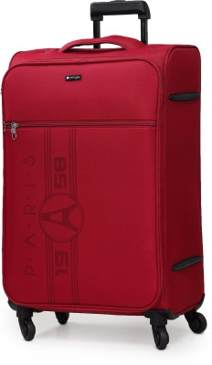 Verage Paris 70 Cms Red Medium Check In Soft Suitcase Luggage Bag With 360 Spinner 4 Wheels Expandable Check-in Luggage...