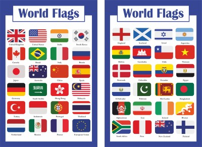 Flags of the world - Classroom/homeschool Reference Chart National Countries Symbol Cool Decor Wall Poster ( Laminated,11.7 x 16.5 Inch...