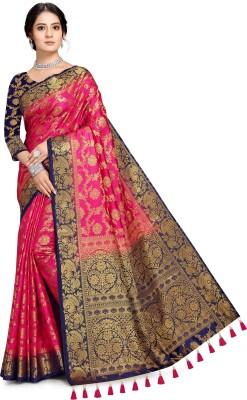 COSBILA FASHION Woven Banarasi Cotton Silk Saree(Pink, Blue)