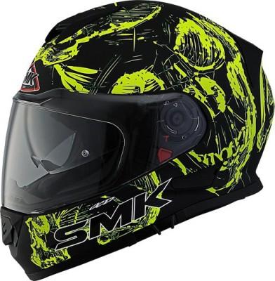 SMK STELLAR SKULL Motorbike Helmet(MATT BLACK, Yellow)