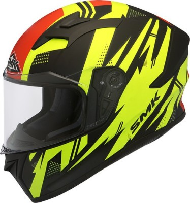 SMK STELLAR TREK Motorbike Helmet(Yellow, Red)