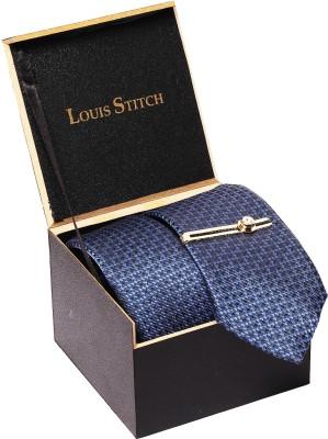 LOUIS STITCH Silk Tie Pin Set(Blue)