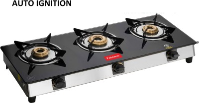 Fabiano 3 Burner Auto Ignition Glass Gas Stove With 7MM Toughened Black Glass : ISI Marked : Pan India Service...