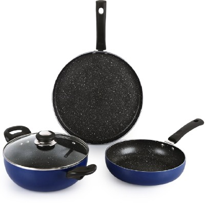 cello by Cello Prima 3piece Non Stick Cookware set with Spatter Induction Bottom Cookware Set(Aluminium, 3 - Piece)