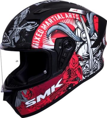 SMK Helmets - Stellar - Fitted Single Clear Visor Full Face Helmet (590 MM) Motorbike Helmet(Red, Grey, MATT BLACK)